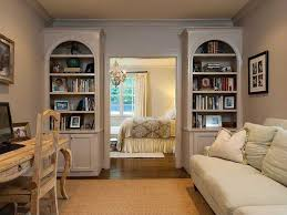 traditional home office with built in bookshelf u0026 crown molding