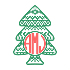 monogram christmas aztec print christmas tree svg cuttable designs