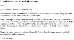 example cover letter for application to argos forums learnist org
