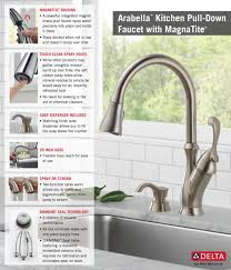 Pull Down Faucet Kitchen Delta Arabella Single Handle Pull Down Sprayer Kitchen Faucet With