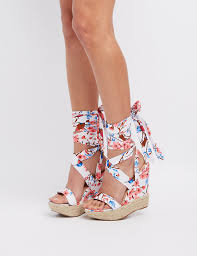 floral lace up wedge sandals charlotte russe