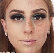 Make Up talented make up artist completely covers freckles using