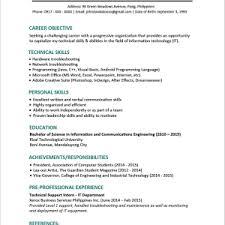 sample resume for a fresh graduate sample resume format for fresh graduates one page sample single