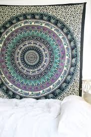 White Hippie Bedroom Royal Plum Mandala Tapestry And White Bedding Cozy Spaces