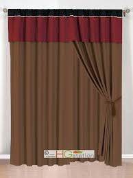 Sheer Burgundy Curtains Sheer Curtain With Attached Valance