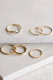 set of gold gold rings ring set engraved ring set 16 00