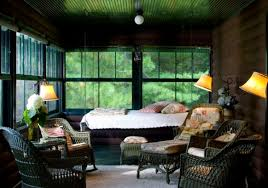 indoor screened porch also hanging bed design with chain and