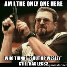 Shut Up Wesley Meme - am i the only one here who thinks shut up wesley still has legs