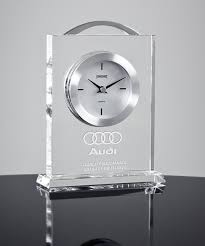 crystal desk clock with silver round framed without numbers