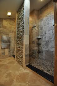 Open Showers Brown Stone Wall With Black Corner Shelves Plus Silver Shower