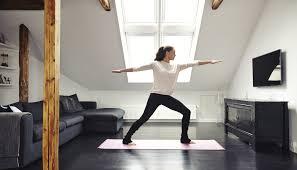 28 livingroom yoga girlfriend doing yoga in the living room