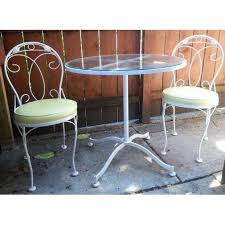 wrought iron bistro table and chair set vintage meadowcraft white wrought iron bistro table chairs set of