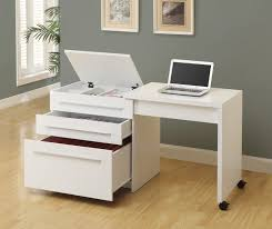 Computer Desk On Wheels Furniture White Small Writing Desk With Two Drawers And Long Small