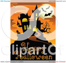 happy halloween vector clipart haunted house with bats and a full moon over happy
