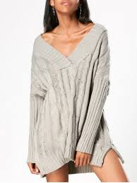 knit oversized sweater gray one size v neck cable knit tunic oversized sweater rosegal com