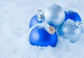 studio of blue and silver ornament on snow