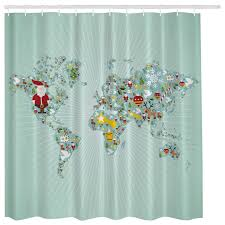 Shower Curtain Map Aqua Blue Santa Claus Christmas World Map Globe Fabric Shower