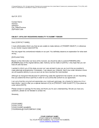 Decline Letter To Bid Apology Regarding Inability To Submit Tender Template Sle