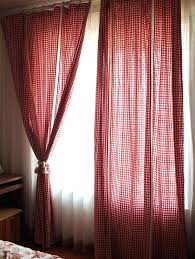 Gingham Nursery Curtains Red And White Curtains Pastel Color Series Voile Curtain Leaves