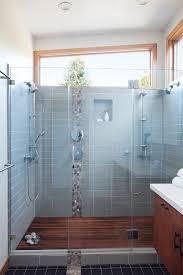 Bathroom Window Trim River Rock Tiles Bathroom Contemporary With Storage Vanity Wood