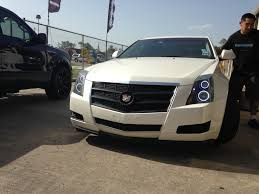 cadillac cts lights painted headlights halo install blackout grille