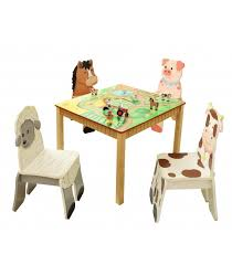 crayola table and chairs kids wooden table and set of 4 chairs happy farm room collection