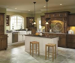 Rustic Kitchen With Off White Cabinet Accents Schrock - Rustic kitchen cabinet