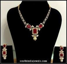 diamond necklace red images Diamond necklace with red stones south india jewels jpg