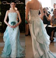 gowns for wedding light blue wedding dresses ruffle back 2017 oscar de la renta