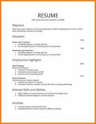 simple resume sle for job sle resume format for high students study inside basic