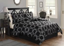 7pc king luxury modern black silver gray geometric comforter