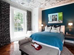Windows To The Floor Ideas Blue Bedroom Color Scheme Brown Wooden Bay Windows Soft Blue Paint