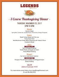 thanksgiving dinner at legends resort