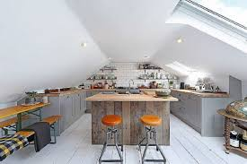 attic kitchen ideas gray cabinets with wooden countertop attic kitchen white subway
