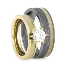 wood wedding band aspen wood wedding ring set yellow gold moissanite engagement