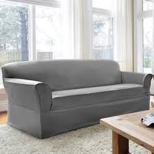 grey twill sofa slipcover coverworks tara twill 1 piece relaxed fit sofa slipcover free