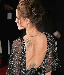 angelina jolie u0027s lower neck and shoulder blade tattoo designs
