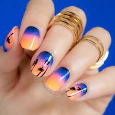 sunset beach palm tree nail design fmag com