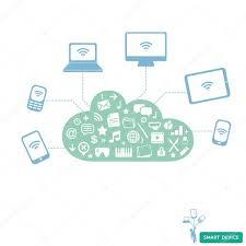 smart devices connected wireless to cloud service new technology