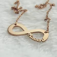 gold necklace name solid gold infinity name necklace