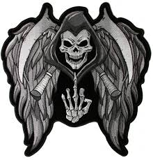 skull wings middle finger patch large