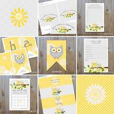 instant download baby shower invitations owl baby shower set of printables yellow and grey owls with