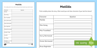 seating question planning for matilda activity sheet cfe