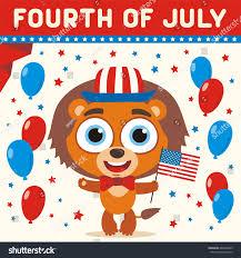 Flag Day Funny Fourth July Cartoon Lion Flag Usa Stock Vector 660409609
