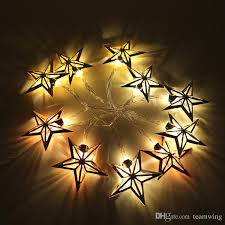 battery operated 10 led warm white string light metal star shape