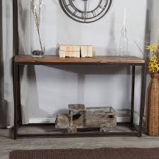 solid wood top sofa console table with metal frame