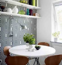 small dining room with diy wall rack and awesome wallpaper idea
