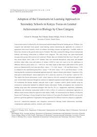 adoption of the constructivist learning approach in secondary