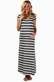 grey white striped maternity maxi dress