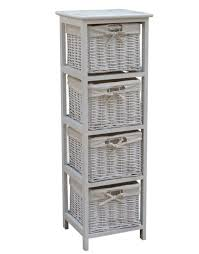 wooden storage tallboy with wicker baskets in two colours